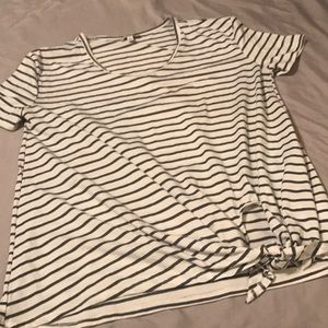 Umgee Side Tie Stripe T-Shirt - Size Small